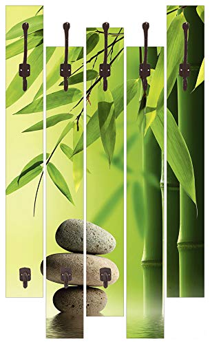 Artland Qualitätsmöbel I Garderobe mit Motiv 5 Holz-Paneele mit Haken 68 x 114 cm Wellness Zen Stein Foto Grün G4AJ Spa Stillleben