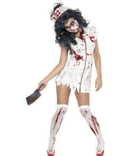 Smiffy's Women's Zombie Nurse Costume with Dress Mask and Headpiece, Red/White, Medium by RH Smith & Sons (Womens Night Nurse Kostüme)