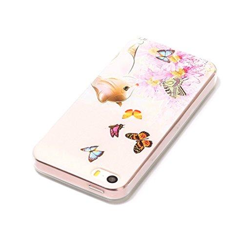 Custodia iPhone 5S / 5 / SE ,JIENI Trasparente Cover Moda rosa Rose Flessibile TPU Silicone Bumper Case per Apple iPhone 5S / 5 / SE HX46