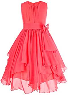 6e04818fd iEFiEL Vestido de Fiesta Princesa Gasa Bautizo Boda para Niña Vestido Casual  de Ceremonia (4
