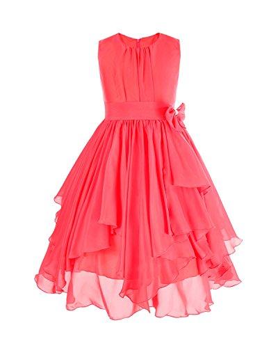 Kostüm Wassermelone Mädchen - YiZYiF Kinder Mädchen Kleid Pinzessin Kostüm Blumenmädchen Kleider Festlich Party Hochzeit Festzug- Gr. 152/12 Jahre, Wassermelonen Rot