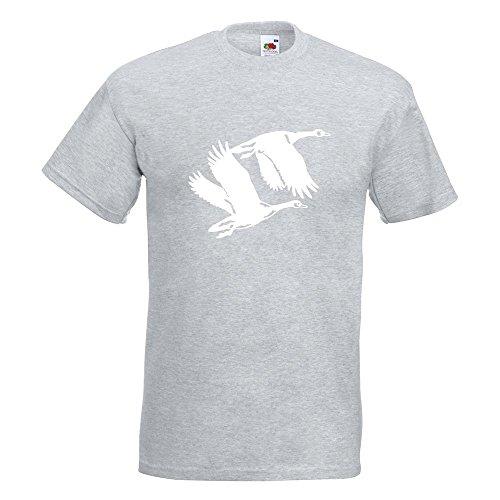 Kiwistar Enten - Flugenten - Duck T-Shirt in 15 Verschiedenen Farben - Herren Funshirt Bedruckt Design Sprüche Spruch Motive Oberteil Baumwolle Print Größe S M L XL XXL Graumeliert