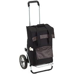 Andersen Chariot de courses Royal avec sacoche Holly noire, volume 49L, cadre en acier et roues à rayons métalliques