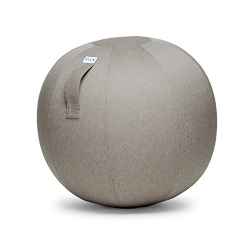 VLUV LEIV Stoff-Sitzball, Fitnessball, Gymnastikball, Medizinball, Pezziball für das Büro oder zu Hause 65cm, ergonomisch - in Stone