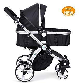 Amzdeal Kinderwagen Kombikinderwagen, 2018 Kinderwagen mit 3 Verwendungsform, 4 Stoßfestem Design und 6 Wichtiges sicherheitsdesign, für 0-3 Jahre alt Baby, Schwarz