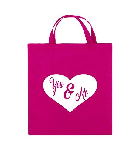 Comedy Bags - YOU & ME - HERZ NEGATIV - Jutebeutel - kurze Henkel - 38x42cm - Farbe: Schwarz / Pink Pink / Weiss