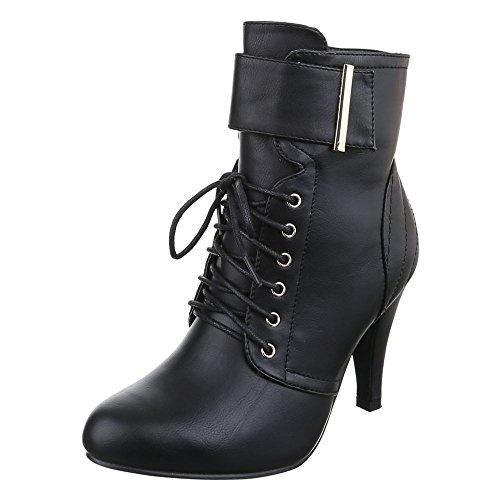 Damen Schuhe, KA-728P, STIEFELETTEN HIGH HEELS SCHNÜRER BOOTS