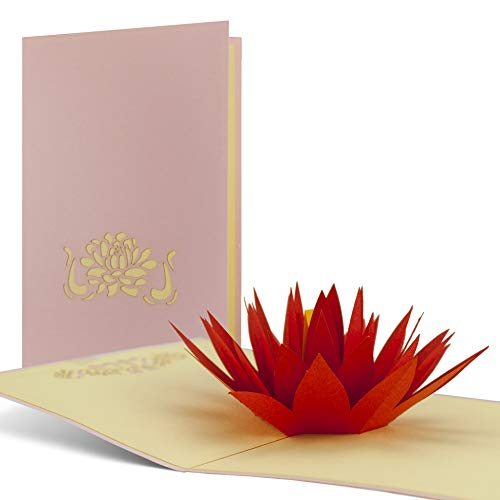 Geburtstagskarte Wellness, Seerose aus Papier als Pop-Up-Karte, schönes Geschenk und gut als Gutschein für Yoga oder eine Meditations-Reise geeignet, hochwertig, edel, F03 (Wellness Geschenke)