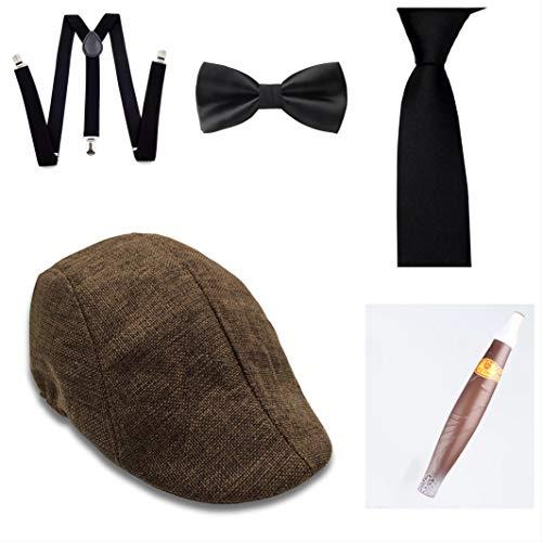 thematys Al Capone Mafia Gangster Hut + Fliege + Krawatte + Hosenträger + Zigarre - 20er Jahre Kostüm-Set für Damen & Herren - perfekt für Fasching & Karneval - Herren Mafia Kostüm