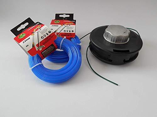 Automatic Tête fils pour débroussailleuse Débroussailleuse + 2 x 15 m mähfaden 6 pans pour recharger 2,65 mm haute capacité de coupe.