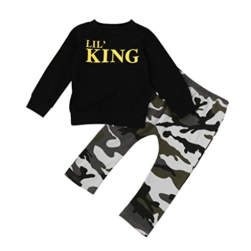 Webla Toddler Kids Baby Boy Letter LIL King T shirt Tops+Camouflage Pants Outfits Clothes Set for 1-5 Years Old (3T)