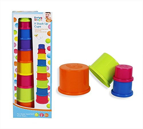 Baby Stack Up Cups 9 Cups Toy Develop Bath Play Time 12m+ Colourful Teach Learn
