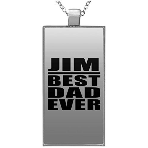 Jim Best Dad Ever - Rectangle Necklace Halskette Rechteck Versilberter Anhänger - Geschenk zum Geburtstag Jahrestag Muttertag Vatertag Ostern