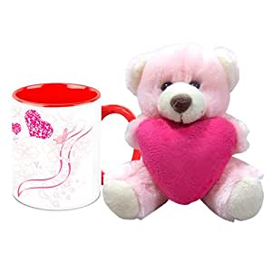 Valentine Gift HomeSoGood Lovely Twinkling Hearts White Ceramic Coffee Mug with Teddy - 325 ml