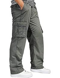 fbfc639e1a1d Emmay Herren Cargohose Arbeitshose Stretch Cargo Mehrere Loose Pants Mit  Casual Tasche Sport Wesentlich Arbeit Freizeit