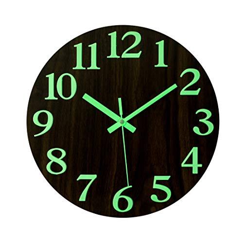 Forweilai Holz Wanduhr 30cm, Glow-in-The-Dark-Wanduhr für Wohnzimmer, Küche, Esszimmer, Büro und Schlafzimmer - Ohne Tickgeräusche (In Schlafzimmer Dark Glow The)