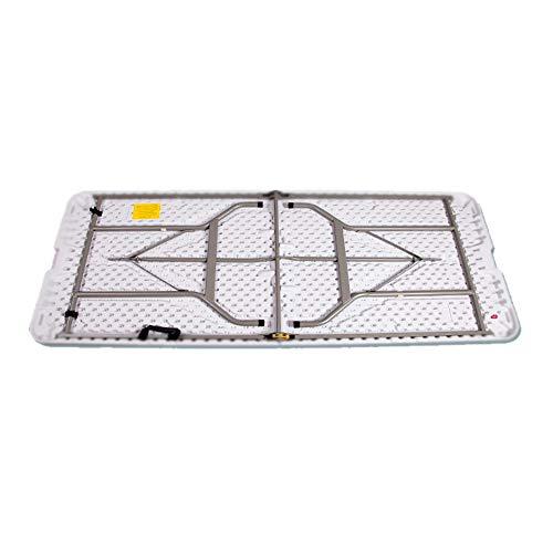 Klapptisch Kunststoffplatte in halben Tisch mit Stahl-Piper-Fuß 6-Fuß Küche/Haus/Garten/Event/Partytisch (Farbe : Weiß, Größe : 240 * 74 * 74cm)