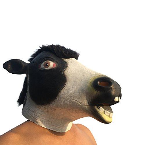 Milch Kuh cow Tier Maske mask Kopf aus sehr hochwertigen Latex Material mit Öffnungen an Augen Halloween Karneval Fasching Kostüm Verkleidung für Erwachsene Männer und Frauen Damen Herren gruselig Grusel Zombie Monster Dämon Horror Party