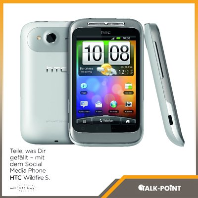 HTC HTC Wildfire S Smartphone Telekom Branding (8,1 cm (3,2 Zoll) Touchscreen, ARM 11, 60MHz, 512MB RAM, 5 Megapixel, Android 2.3)