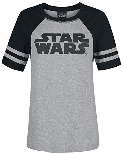 Star Wars Logo Girl-Shirt Grau Meliert/Schwarz M