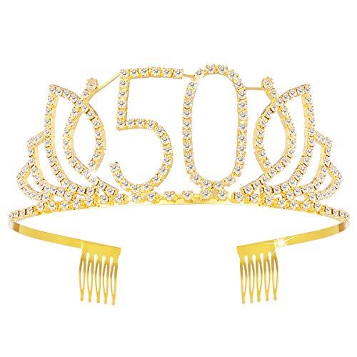 Mädchens 50. Geburtstag Tiara Kristall Strass Geburtstag Tiara Queen Kronen Stirnband mit Haarkämmen Clip für 50. Geburtstag Party Prom Dekorationen (Gold)