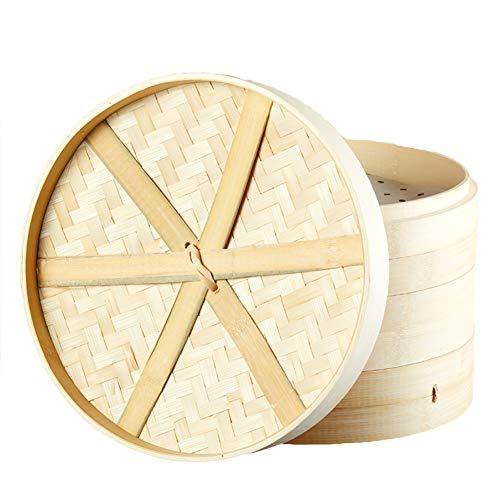 Bambusdämpfer,2 Ebenen/inkl Deckel/24 cm Durchmesser,Handgefertigt/Bamboo Steamer Set aus Bio Bambus/hochwertig und langlebig, Ideal zum Kochen von Dim Sum und Gemüse Reis Fisch und Fleisch,21cm
