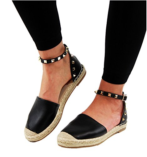 New Womens Flat Espadrilles Ankle Studded Strap Summer Holiday Sandals (38 / 5 UK, Black)