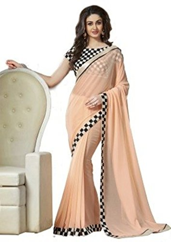 Saree (Vinayak Textile Women\'s Lovely Beige Colored Pure Georgette Party Wear Sari)