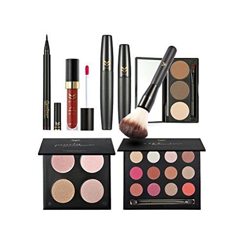 Frcolor 7 pcs Cosmétique Maquillage Set 4 Couleurs Pressé Poudre Mascara Fard à Paupières Sourcils Poudre Brillant à Lèvres Eyeliner Stylo Blush Brush