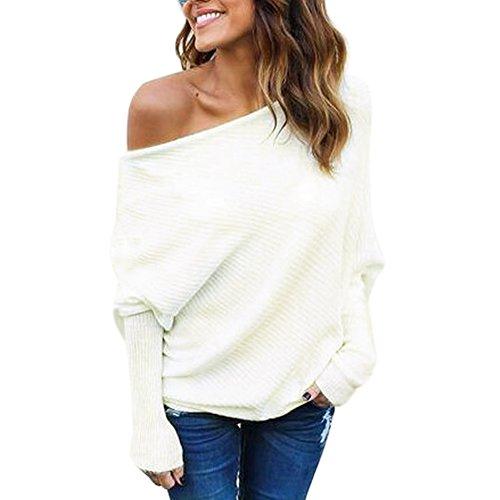 BAINASIQI Damen Elegant Langarm Schulterfrei Pullover Sweater Übergroß Strickpullover Bluse Tops Oberteil (L, Weiß)