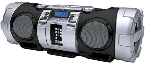 JVC RV NB 50 Stereo Radio-Rekorder (CD-/MP3-Player, UKW-Tuner, 40 Watt, Apple iPod-Dock, USB 2.0) schwarz/Silber