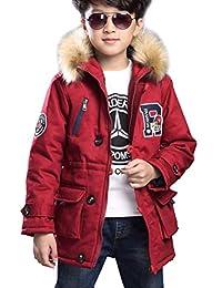 fd3c449bc8a2 Magike Doudoune Enfant garçon Chaud Manteau Longue Capuche Hoodie Blouson  Fourrure Fausse Jacket