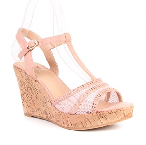 Damen Riemchen Mary Jane Keil Pumps Keilabsatz Peep Toes Spangenpumps Plateau High Heels Wedges 55 (41, Pink)