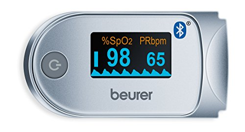 Beurer PO-60 BT- Pulsioxímetro bluetooth, color blanco/plata