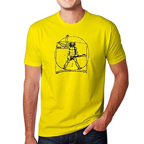 Planet Nerd Da Vinci Rock - Herren T-Shirt, Größe L, gelb - Da Vinci Hochzeit Rock