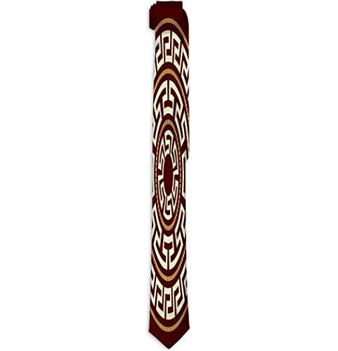 Shishia1 Gentleman Polyester Tie Silk Necktie greek ornaments round rosette motive -