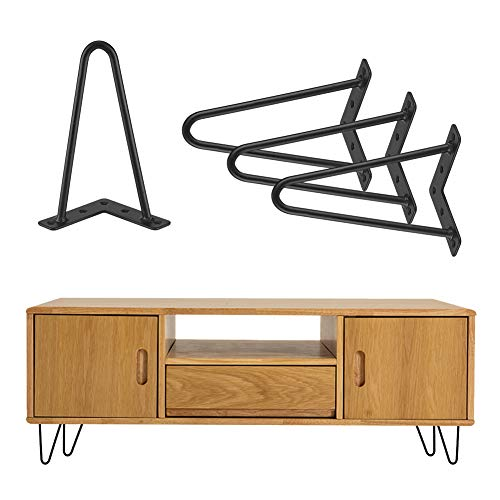 4 Stück Haarnadel Tischbeine Möbelfüße Metall Tischgestell Haarnadelbeine Möbelbein Austauschbare Möbelfüße für Esstisch Couchtisch Schreibtisch Arbeitstisch Durchmesser 10 mm Schwarz (20 cm)