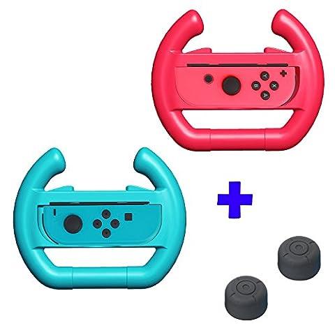 QUMOX Dobe ergonomique Design Contrôleur Case Manette de roue Grip L + R Travel Holder Boîtier set - Red / Blue & Thumb Grip Stick Covers set - Noir Pour Nintendo Switch