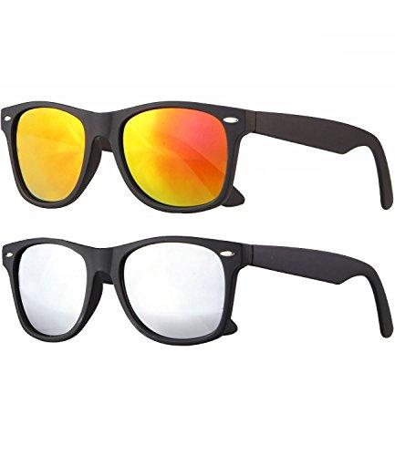 Caripe Retro Nerd Vintage Sonnenbrille verspiegelt Damen Herren 80er - SP (2er Set - schwarz gummiert - 1x Sun verspiegelt - 1x Silber verspiegelt)