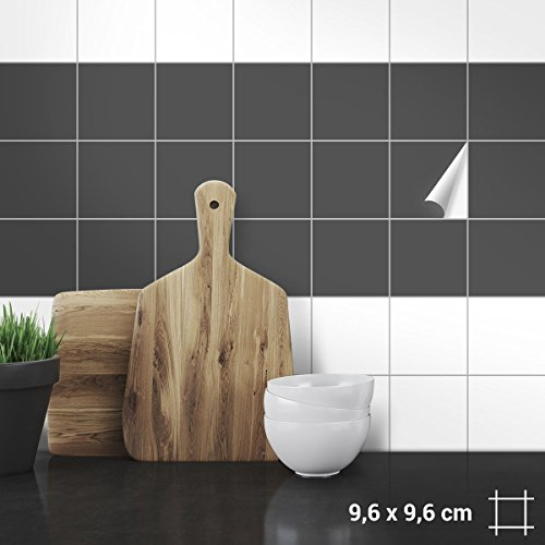 Wandkings Fliesenaufkleber - Wähle eine Farbe & Größe - Dunkelgrau Seidenmatt - 9,6 x 9,6 cm - 20 Stück für Fliesen in Küche, Bad & mehr