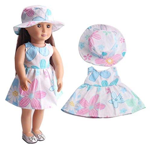 HKFV Hochwertiger Rock & Hut für 18 Zoll Unsere Generation American Girl Doll 18 Zoll American Girl Puppe Kleidung Hut + Rock Education Toy (A) (American Girl Puppe Grace Kleider)