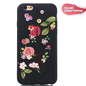 Fatcatparadise Hülle Kompatibel mit iPhone 6S / iPhone 6 (4,7 Zoll) + Displayschutz, Weich Silikon Handyhülle Schlank Flexible TPU Bumper Gummi Dünn Abdeckung Schutzhülle (Blume)