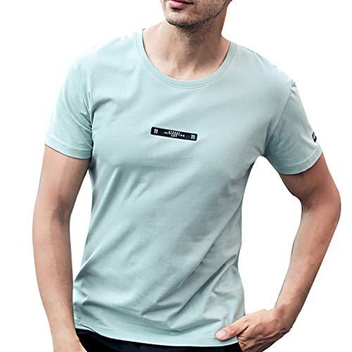 Brief Drucken Shirt Kurzarm Beiläufig T-Shirt Tops(X-Large,Grün-C) ()
