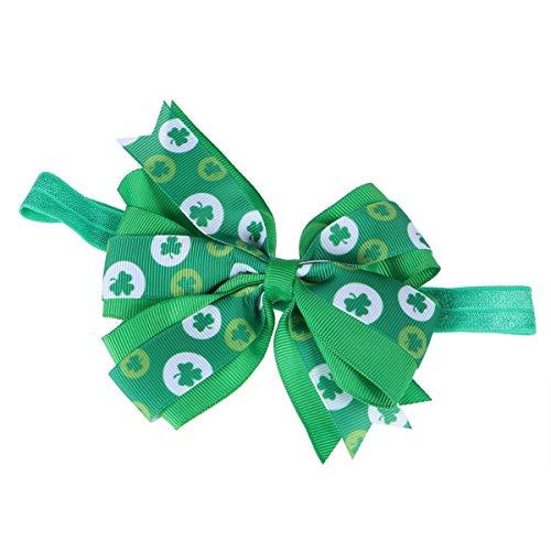 BESTOYARD Baby Mädchen St. Patrick's Day Haarband Schleife Kleeblatt Kopfschmuck Haarzubehör für Kinder Party Gastgeschenk (grün)