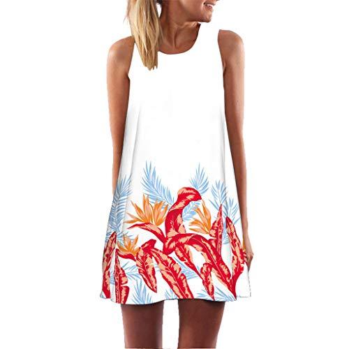 Sumeiwilly Frauen Damen Sommer ärmellose Blume Gedruckt Tank Top Casual Schulter T-Shirt Tops Blusen Beiläufige Karneval Bluse Lovely Mini Floral Printing A-Linie Kleider -