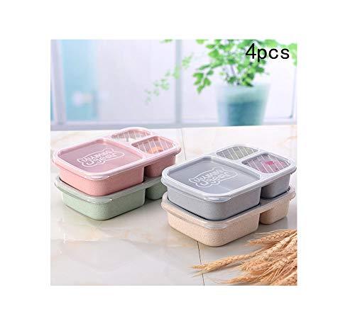 Pot Lunch-Boxen, Weizen Stroh Getrennt Lunch-Box Lunch-Box Fach Arbeit Lunch-Box Student Kreative Cover-Box mit Abdeckung