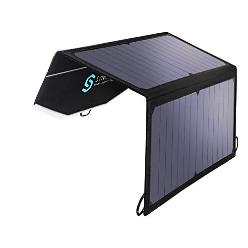 Syncwire Solar-Ladegerät, 16W Dual-USB-Port Solarmodul-Ladegerät für iPhone iPad Samsung Huawei Smartphones [Outdoor Camping Reisegebrauch, Wasserdicht Tragbar Faltbar] (Schwarz) -