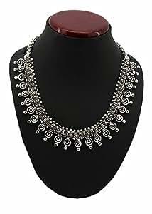 Jstarmart Oxidized Silver Choker Necklace For Women (Silver)