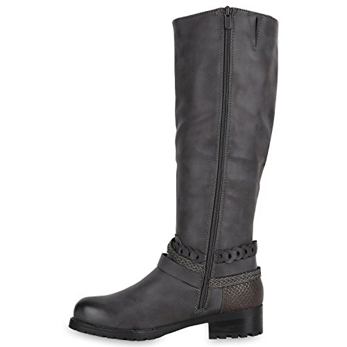 Stiefelparadies Klassische Damen Stiefel Langschaftstiefel Velours Schnallen Schuhe Blockabsatz Damenstiefel Flandell Grau