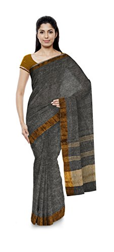 Aakarshan Weaves Women's Pure Linen Saree (Grey)
